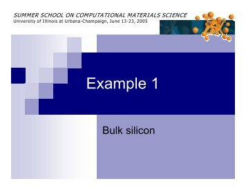 Example 1 - Materials Computation Center - University of Illinois at ...