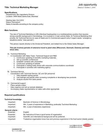 teagasc job specification template