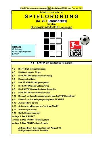 S P I E L O R D N U N G - Bundesliga-FÄNTIP Lauingen