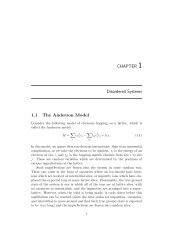 CHAPTER 1 Disordered Systems 1.1 The Anderson Model - Station Q