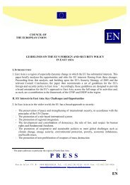 Guidelines on the EU's foreign and security policy in East Asie