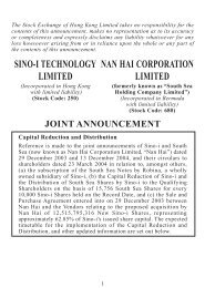 Capital Reduction and Distribution,Change of company name ... - Sino