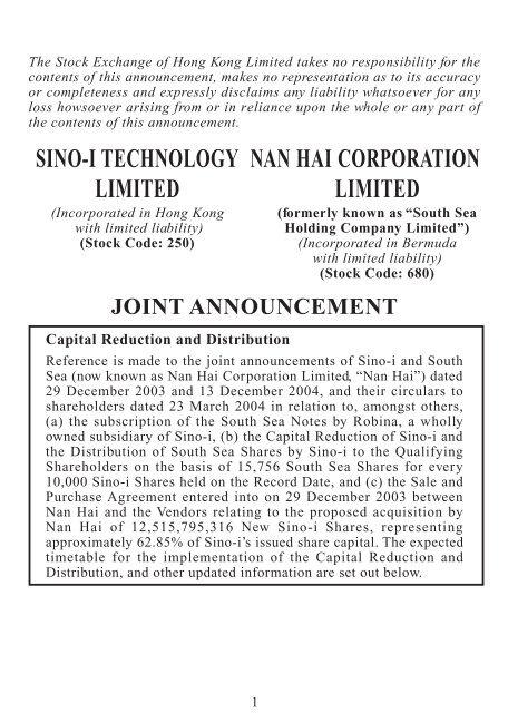 Capital Reduction and Distribution,Change of company name     - Sino