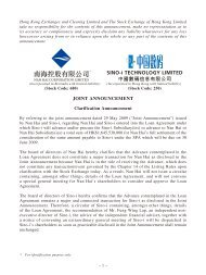 Joint Announcement - Sino