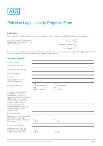 Pollution Legal Liability Proposal Form   AIG