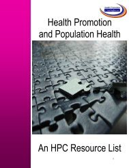 An HPC Resource List Health Promotion and Population Health