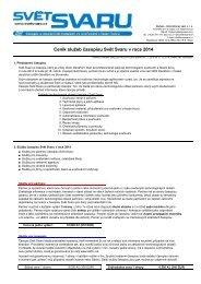 Ceník služeb časopisu Svět Svaru v roce 2012 - Hadyna