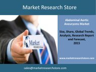 Abdominal Aortic Aneurysms Global Clinical Trials Review 2015 Market Trends, Size, Demand, Cost, Opportunity Analysis