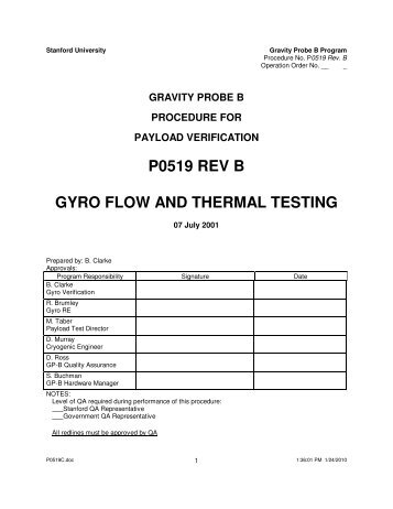 Gyro Flow And Thermal Testing - Gravity Probe B - Stanford University