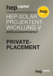 HEP-Solar ProjEktEnt- wicklung V private- placement - hep capital AG