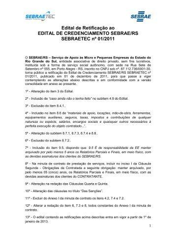 EDITAL DE CREDENCIAMENTO DO SEBRAETEC RS - COM ...
