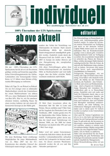Newsletter Individuell Ausgabe 1/2007