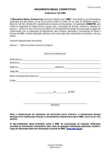 MOVIMENTO BRASIL COMPETITIVO CONVITE N.º 02/2004
