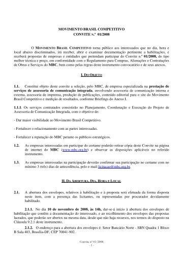 MOVIMENTO BRASIL COMPETITIVO CONVITE N.º 01/2008 O ...