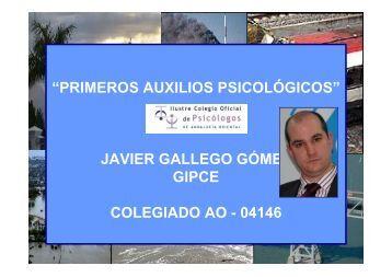 """""""PRIMEROS AUXILIOS PSICOLÓGICOS"""" JAVIER GALLEGO ..."""
