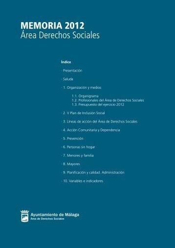 MEMORIA 2012 Área Derechos Sociales - Ayuntamiento de Málaga