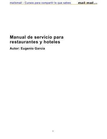 Manual de servicio para restaurantes y hoteles Autor - MailxMail