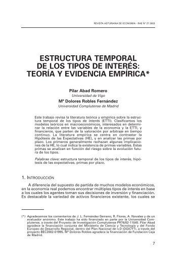 estructura temporal de los tipos de interés: teoría y evidencia empírica