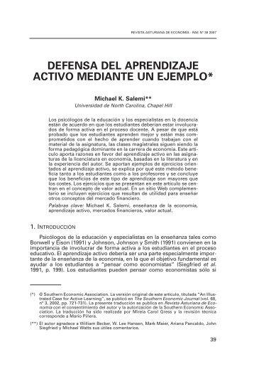 Defensa del aprendizaje activo mediante un ejemplo - Revista ...