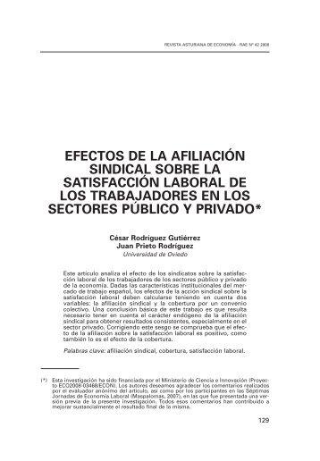 efectos de la afiliación sindical sobre la satisfacción laboral de los ...