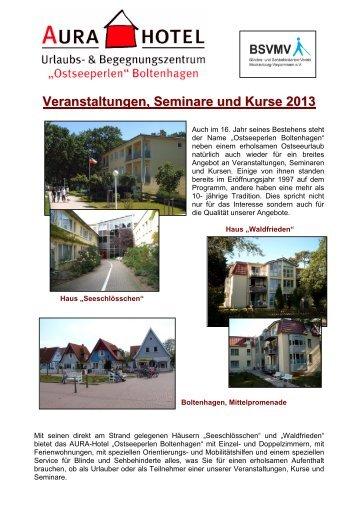 Veranstaltungen, Seminare und Kurse 2013 - AURA- Hotel ...