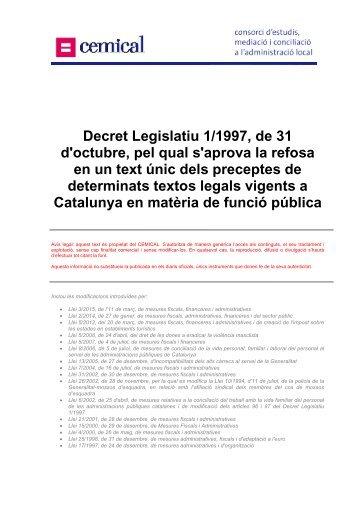 Decret Legislatiu 1/1997, de 31 d'octubre, pel qual s ... - cemical