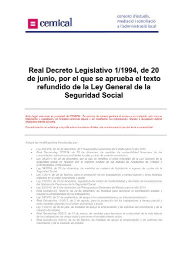 Real Decreto Legislativo 1/1994, de 20 de junio, por el ... - cemical