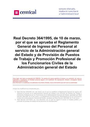 Real Decreto 364/1995, de 10 de marzo, por el que se ... - cemical