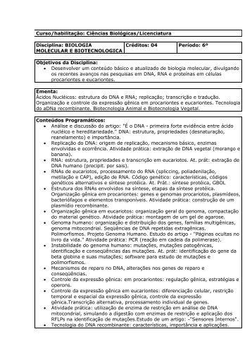 Biologia Molecular e Biotecnologia - Unicruz