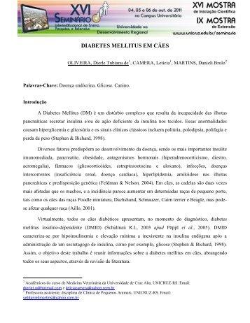 DIABETES MELLITUS EM CÃES - Unicruz