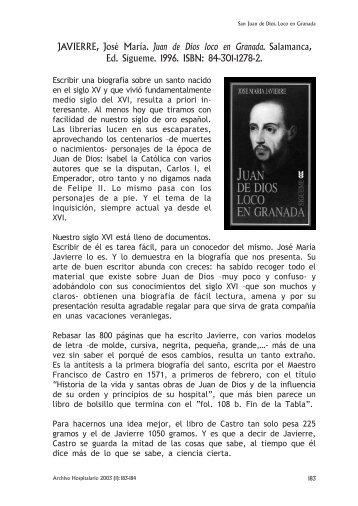 Juan de Dios loco en Granada, por Julian Sánchez Bravo OH.