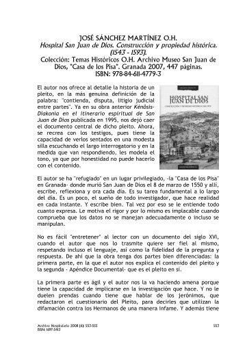 JOSÉ SÁNCHEZ MARTÍNEZ OH., Hospital San Juan de Dios ...