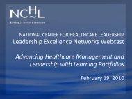 Learning Portfolios - National Center for Healthcare Leadership