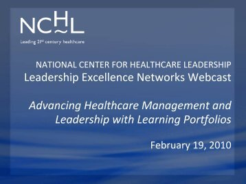Learning Portfolios - National Center for Healthcare Leadership