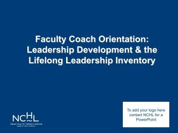Faculty Coach Orientation: Leadership Development & the Lifelong ...