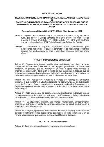 decreto ley nº 133 reglamento sobre autorizaciones para ...