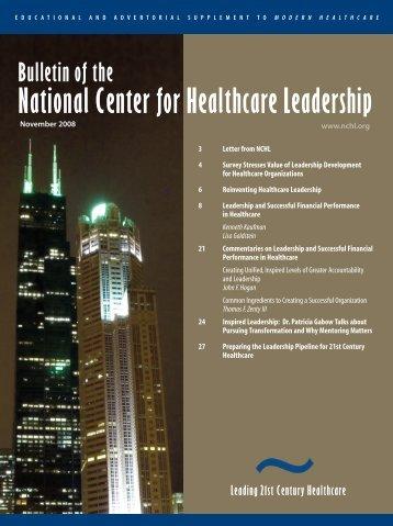 2008 - National Center for Healthcare Leadership