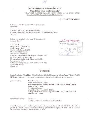 Usnesení o odročení dražebního jednání, č.j. 123EX 3381 ... - Loštice