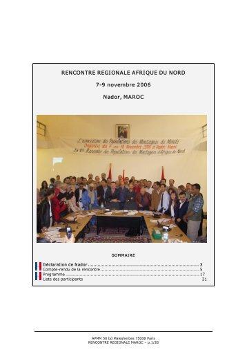 RENCONTRE REGIONALE AFRIQUE DU NORD 79 ... - APMM