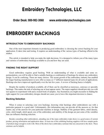 Embroidery Backings Information - Embroidery Technologies