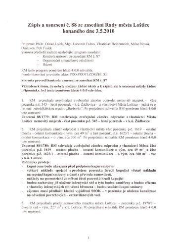 Zápis a usnesení RM č. 88 ze dne 3.5.2010 - Loštice