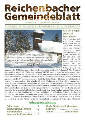 Nr. 80 Januar/Februar - bei der EFG Reichenbach