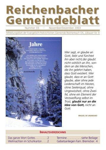 Nr. 33 November/Dezember - bei der EFG Reichenbach
