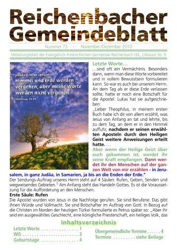 Nr. 73 November/Dezember - bei der EFG Reichenbach