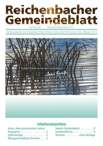 Nr. 85 November/Dezember - bei der EFG Reichenbach