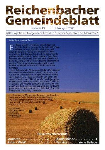 Nr. 43 Juli/August 05 - bei der EFG Reichenbach