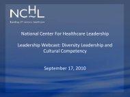 Presentation - National Center for Healthcare Leadership