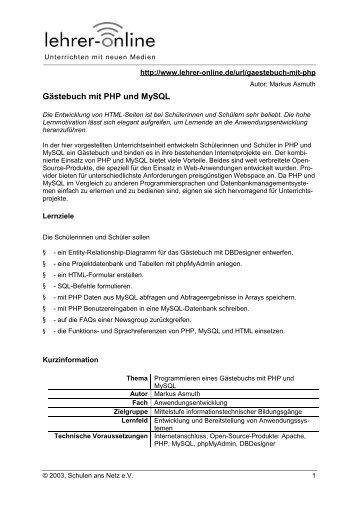 Gästebuch mit PHP und MySQL - Lehrer-Online