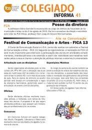 Colegiado Informa n. 41 - Faculdade de Comunicação e Artes