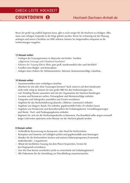 Checkliste Fur Die Hochzeit Herunterladen Heiraten In Sachsen